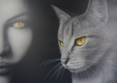 Kočičí žena 2 (65 x 90 cm)