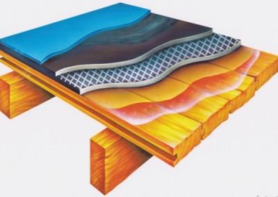 řez podlahovým složením